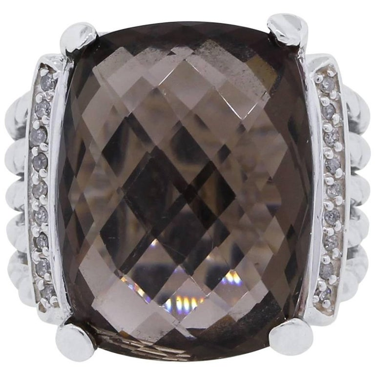 David Yurman Smoky Quartz Diamond Wheaton Ring
