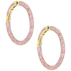 6 Carat Pink Sapphire Inside Out Yellow Gold Hoop Earrings