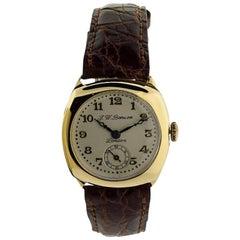 Benson Yellow Gold Cushion Shaped Campaign Style Manual Wristwatch