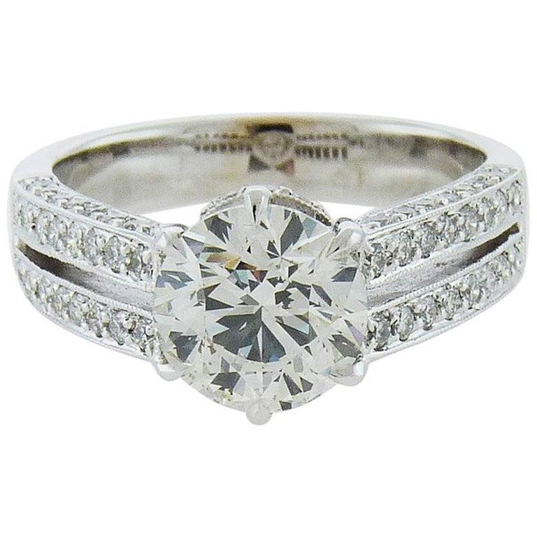 GIA Certified 2.01 Carat Round Brilliant-Cut Diamond 18 Karat White Gold Ring