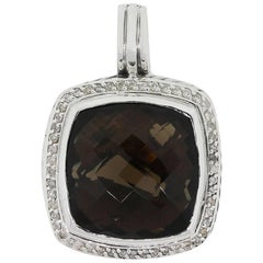 David Yurman Sterling Silver Smoky Quartz and Diamond Albion Pendant
