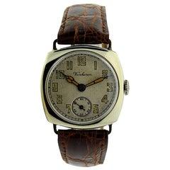 Vanburen Nickel Silver Cushion Shaped Campaign Style Manual Wristwatch