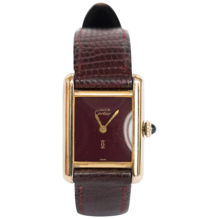Cartier yellow gold silver vermeil Must de Cartier Tank Manual Wristwatch, 1977
