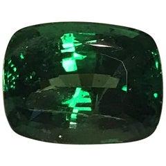 Rare 13.45 Carat Cushion Cut Fine Tsavorite Green Garnet