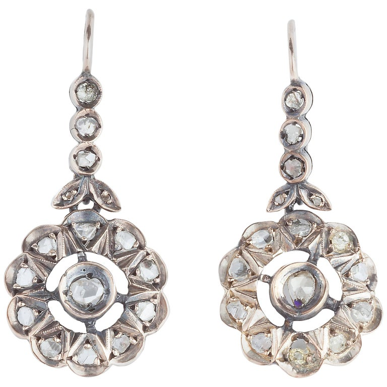 Edwardian Rose Cut Diamond Earrings For