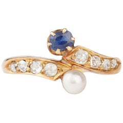 Victorian 18 Karat Gold Sapphire and Natural Pearl Ring