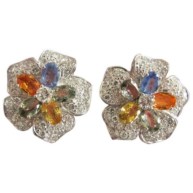 Pre-Owned Multicolored Sapphire Diamond Flower Earrings