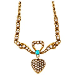 15 Karat Gold Victorian Pearl and Turquoise Necklace