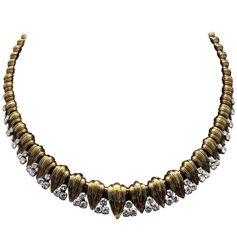 1960 Mauboussin Diamond Yellow Gold Platinum Necklace