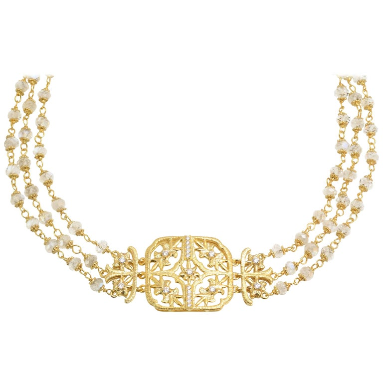LALAoUNIS Choker Aurelia Necklace in 18k Gold with Diamonds and Moonstones