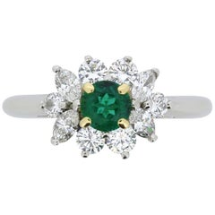 Tiffany & Co. Emerald and Diamond Cluster Ring