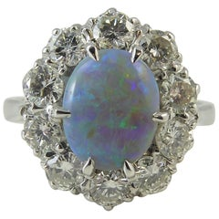 Pre-Owned Opal and Diamond Cluster Ring