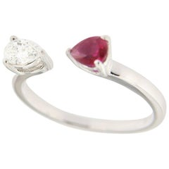 Jona Diamond and Ruby White Gold Ring