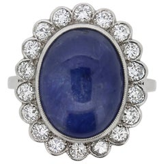 Vintage Sapphire and Diamond Cluster Ring, circa 1940s