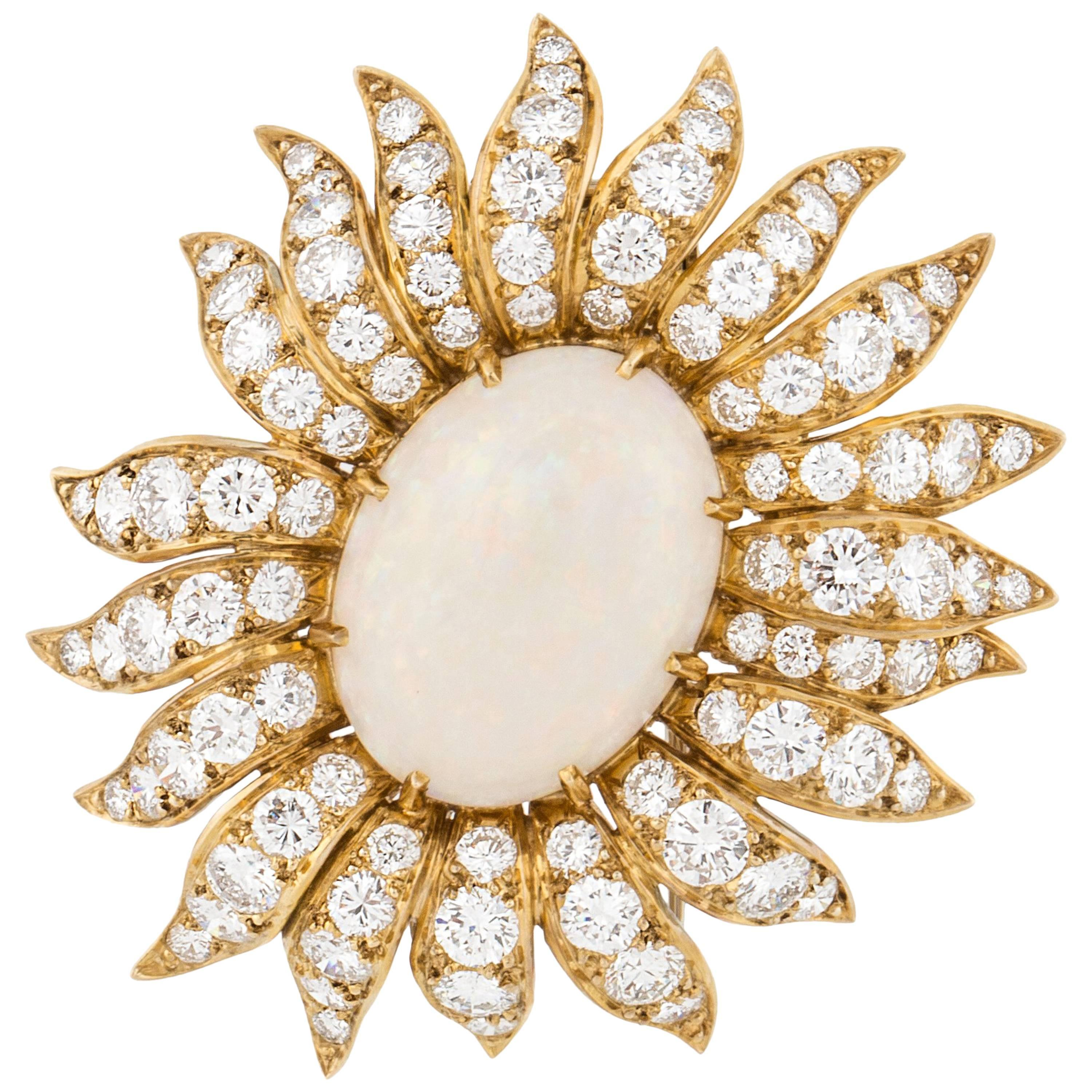 Cartier Opal and Diamond Brooch Clip in 18K Gold