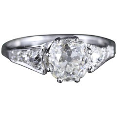 Antique Edwardian 2.47 Carat Diamond Solitaire Engagement Ring