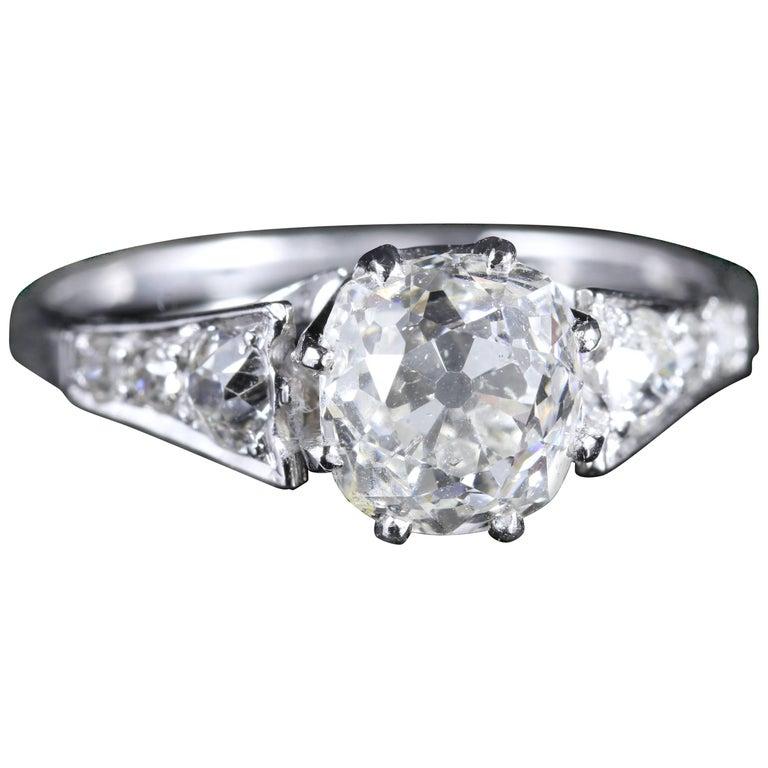 Antique Edwardian 2.47 Carat Diamond Solitaire Engagement Ring