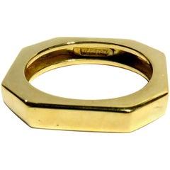 David Webb Octagonal Gold Band Ring