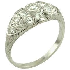 Art Deco Old European Cut Diamond and Platinum Ring, circa 1930