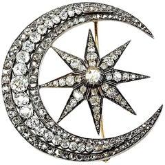 Crescent Starburst Diamond Brooch