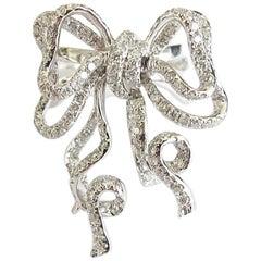 Diamond Ribbon Bow Statement Ring