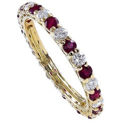 Tiffany & Co. Ruby Diamond Gold Band Ring