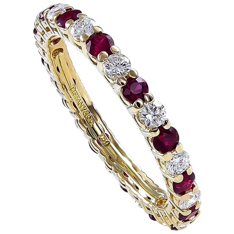Tiffany & Co. Ruby Diamond Gold Band Ring For Sale
