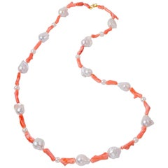 Angel Skin Deep Sea Coral Baroque Freshwater Pearls Necklace