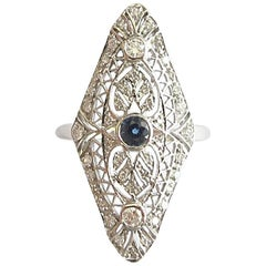 Antique Style Sapphire and Diamond Filagree Gold Ring