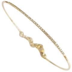 Thin Pavé Diamond Gold Bangle