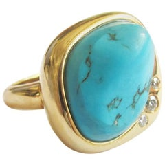 Turquoise Diamond Gold Sculptural Ring
