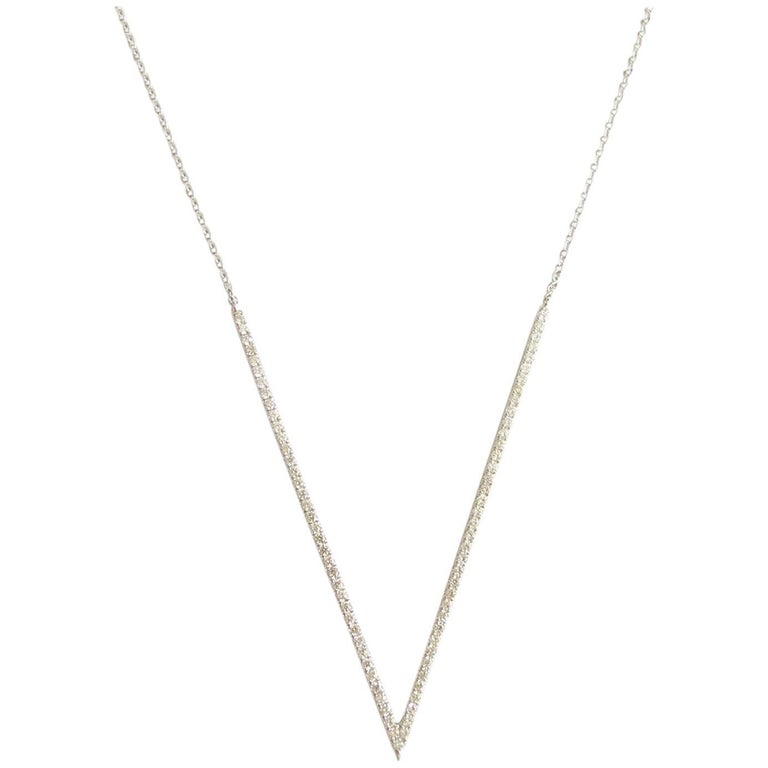 "Contemporary Diamond ""V"" Necklace"