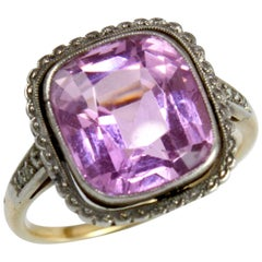 Gold Edwardian Pink Topaz and Diamond Ring