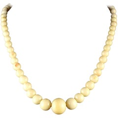 Antique Victorian White Coral Necklace, circa 1900