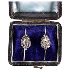 Antique Georgian Paste Earrings Boxed, circa 1800
