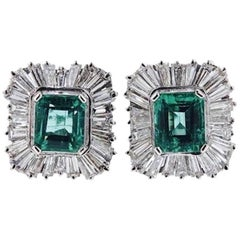 Stunning 4.50 Carat 1950s Emerald Diamond Drop Dangle Pierced Earrings