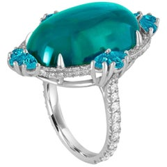 Unique Indiculite Brazilian Paraiba Diamond Platinum Ring