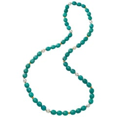 Tibetan Turquoise, South Sea Pearls and 18 Karat Gold Beads Necklace