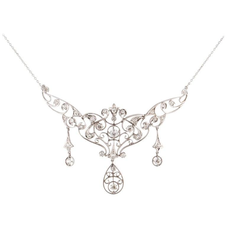 Edwardian Platinum 14 Karat Diamond Necklace