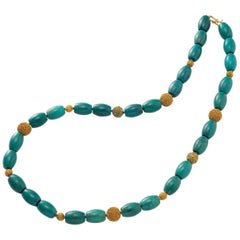 Long Chinoiserie Necklace with Tibetan Turquoise and Vermeil Beads