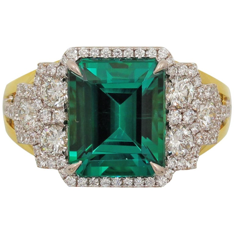 Frederic Sage 4.88 Carat Fine Green Tourmaline Diamond Ring