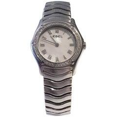 Ebel Ladies Stainless Steel Diamond Wave Bracelet Wristwatch