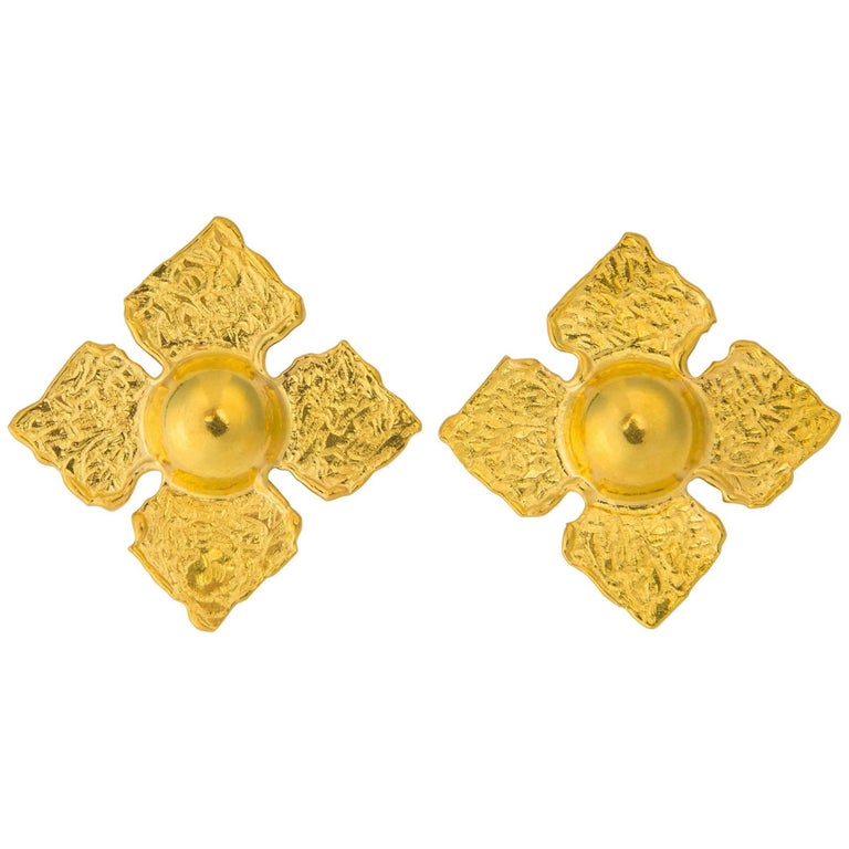 Jean Mahie Exceptional 22 Karat Gold Earrings For Sale At 1stdibs