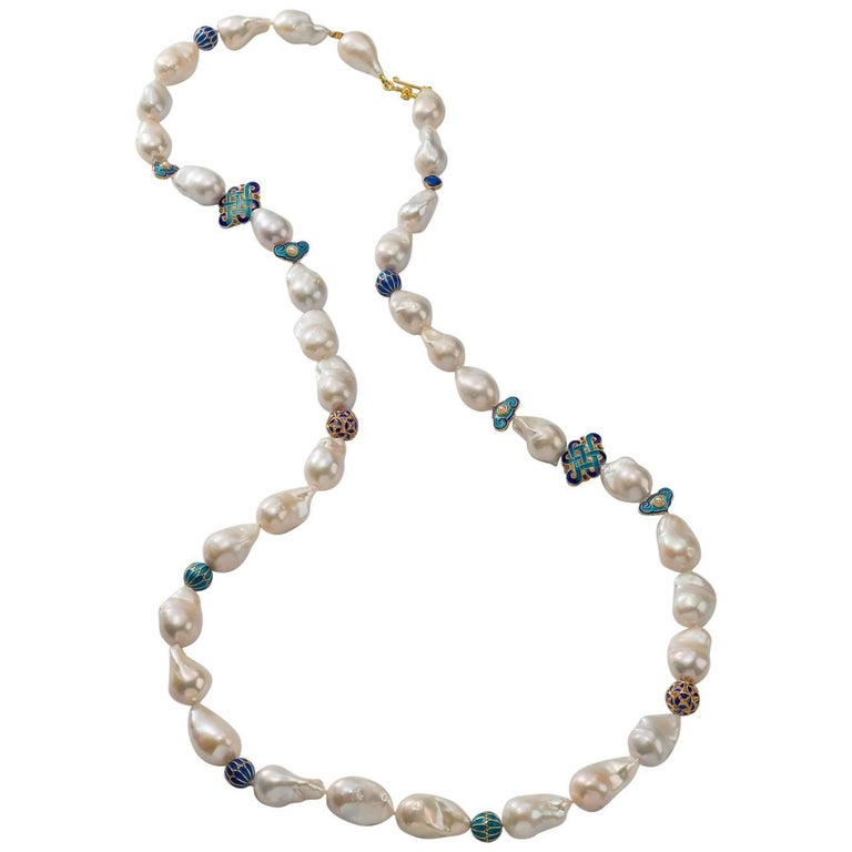 Long Chinoiserie Necklace, Baroque Freshwater Pearls, Cloisonné & Vermeil Beads
