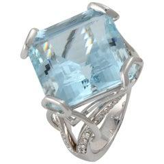 Frederic Sage 21.07 Carat Aquamarine Diamond Ring