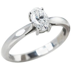 Mappin & Webb Platinum Oval Cut Diamond Engagement Ring
