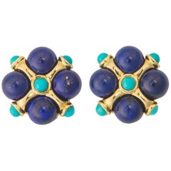 Chic Lapis and Turquoise Earrings