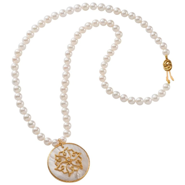 Pearl Necklace, Hand-Hammered 18K Gold, Diamond & MOP Chinoiserie Lotus Pendant