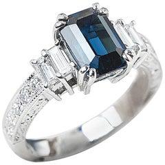 18 Karat White Gold GIA Certified Sapphire Diamond Engagement Ring