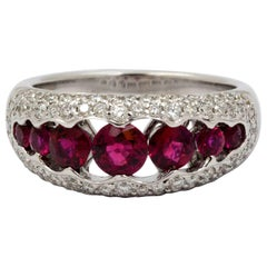 Ruby and .68 ct Pave Diamonds 18 KW Gold Ring